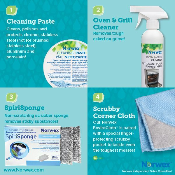 Norwex (1) Cleaning Paste, (2) Oven & Grill Cleaner, (3) SpiriSponge, (4) Scrubby Corner Cloth. For Facebook parties, online events and marketing.