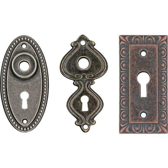Keyhole Pendant Connector Key Hole Lock Escutcheon Antiqued Bronze Steampunk