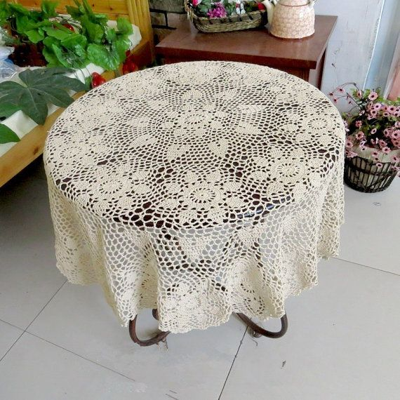 Lovely Crochet Pattern Round Table Topper 100 Handmade Table Cover Crochet Tablecloth For Home Decor