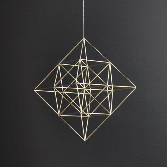 Brass Himmeli Diamond / Modern Hanging Mobile / Geometric Sculpture / Minimalist Home Decor