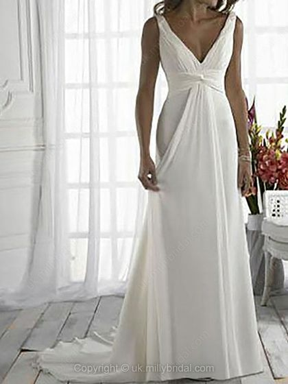 Sheath/Column V-neck Chiffon Satin Court Train Ruffles Wedding Dresses -USD$152.63
