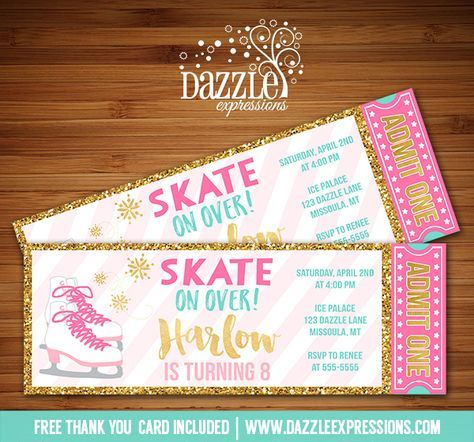 Printable Pink and Gold Ice Skating Ticket Birthday Invitation | Glitter Winter Party | Skate Party | Digital File | Kid or Teen Birthday Party Idea or for any event | Snowflake | Fundraiser | FREE thank you card | Party Package Available | Banner | Cupcake Toppers | Favor Tag | Food and Drink Labels | Signs | Candy Bar Wrapper | www.dazzleexpressions.com