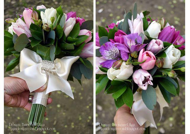 Baiciurina Olga's Design Room: Розово-фиолетовый весенний букет невесты -Tulip pink&violet wedding bouquet.