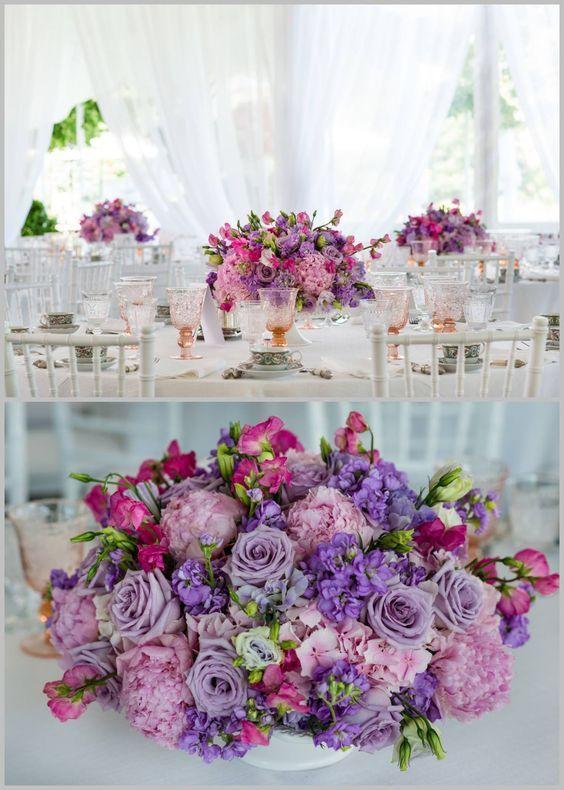 Featured photographer: Kent Drake Photography; Purple wedding centerpiece idea