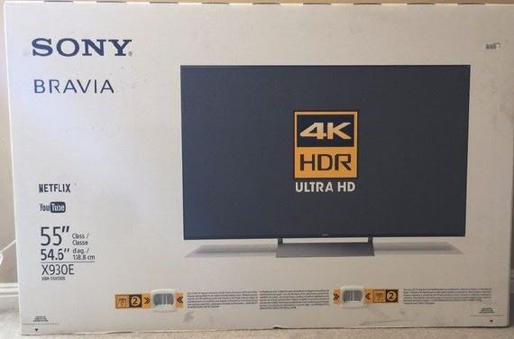 "Sony XBR-55X930E 55"" Smart LED 4K Ultra HD TV with"