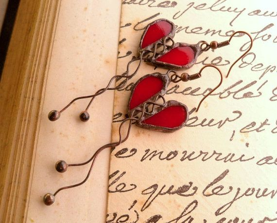 Love stained glass red earrings copper wire statement jewelry