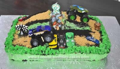 Homemade  Monster Jam Birthday Cake: I got the idea for this Monster Jam Birthday Cake for my great nephew's 3rd birthday by searching coolest-birthday-cakes.com. There were many wonderful