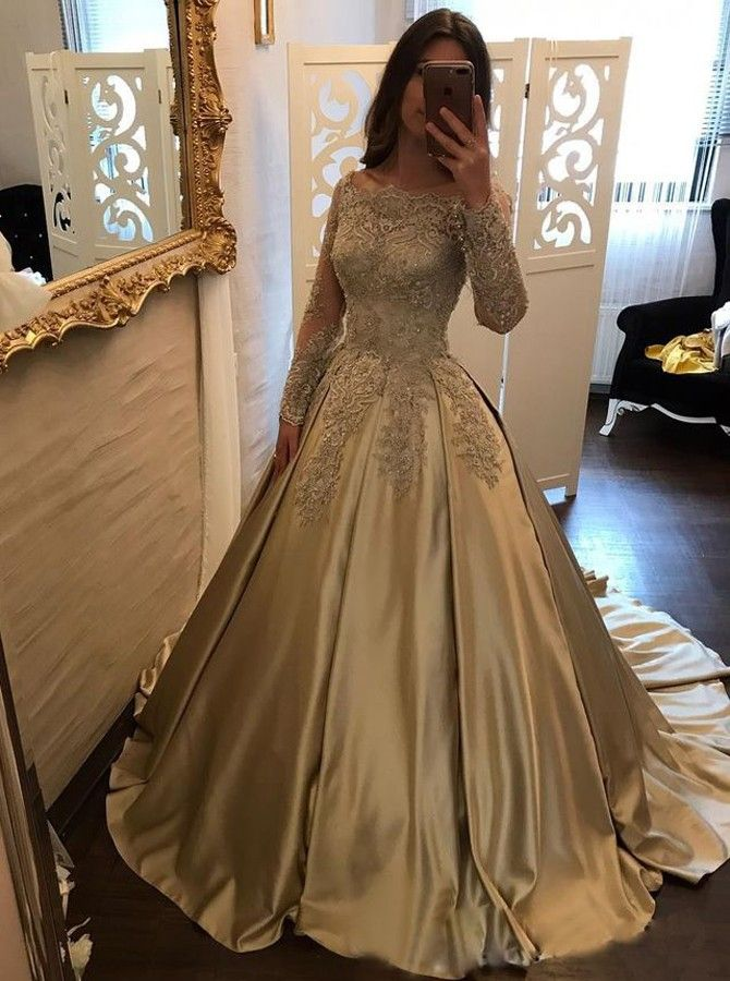 8511aa2102 Ball Gown Off-the-Shoulder Champagne Satin Prom Dress with Lace Sleeves with  cheap wholesale price, Buy Special Occasion Dresses at Simple-dress.com !