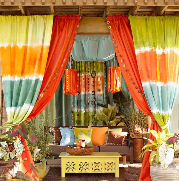 Colorful >> Love!: Patio Design, Outdoor Living, Outdoor Rooms, Ties Dyes, Colors Schemes, Gardens, Outdoor Curtains, Outdoor Spaces, Patio Ideas