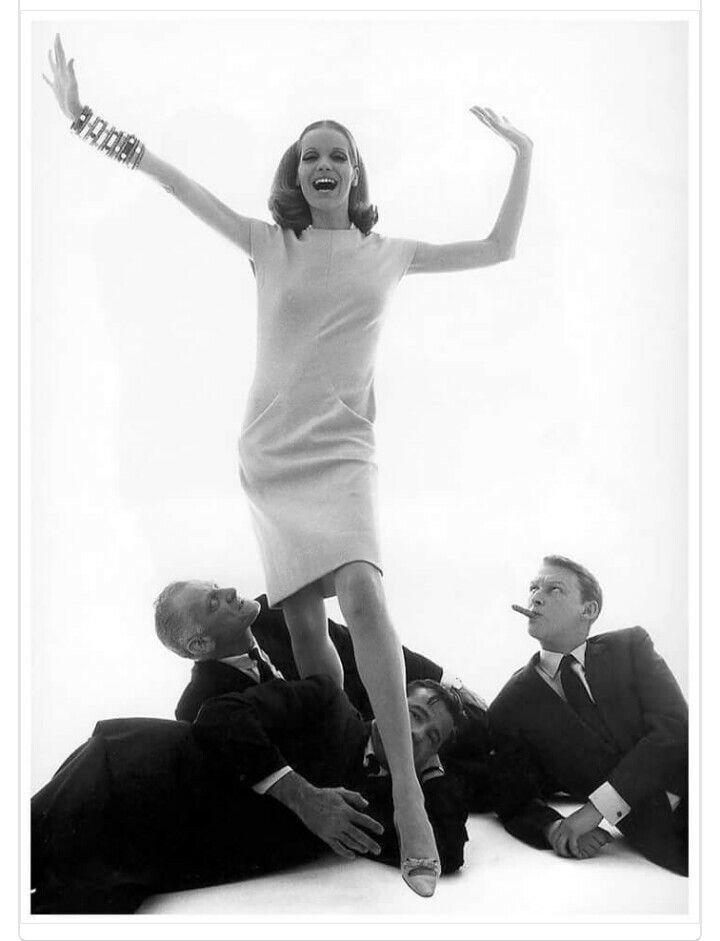 Verushka, Art Carney, Mike Nicholas, Walter Matthau; Vogue, 1960