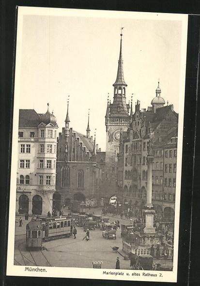 Marienplatz, Old City Hall, postcard ca. 1925