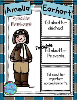 Amelia Earhart (Interactive Writing Printable and Fast Facts Graphic Organizer)