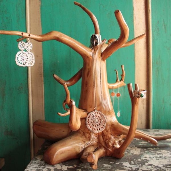 coffee wood jewelry tree.  statement.