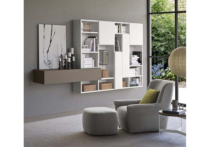 poltrona pouf Dialogo contenitori componibli libreria mobili tv bianco tortora tavolino Abaco Pianca Spazioteca Sbalzzato