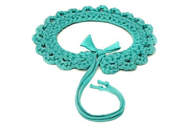Maccheron 100% Fabric Crochet Collar (turquoise green) - Designed and handmade with ♥ ...in Budapest ...by me :-) Like my page on FB: www.facebook.com/Maccheron