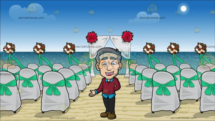 A Friendly Mature Man Welcoming People At Chairs And A Canopy Set Up For A Beach Wedding:  A mature man with gray hair wearing a sky blue dress shirt under a maroon sweater dark gray pants army green shoes parts his lips to speak in delight left hand tucked behind his back as his right hand is slightly raised to make a point. Set in chairs with white covers and green bows are set up on the beach in rows with an aisle down the middle leading to a canopy with white fabric and red flowers.