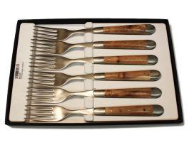 Juego 6 cuchillos mesa Forge de Laguiole en madera de enebro