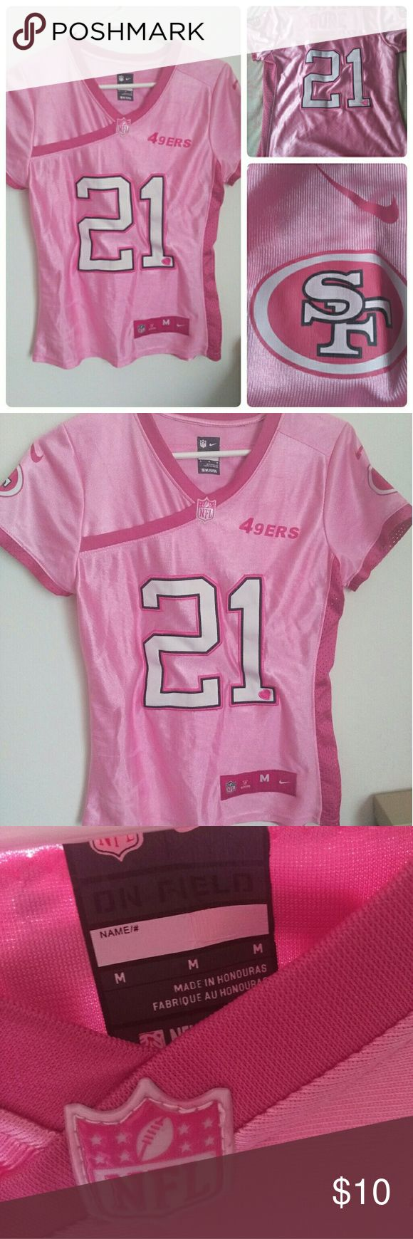 "Pink San Francisco 49ers Fan Jersey Sz Medium San Francisco 49ers Frank Gore fan jersey. Only worn a couple times.  Approximate measurements: Bust 13.5"" Shoulder to shoulder 14"" Length 23"" Tops"