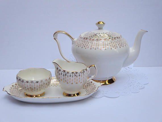 TEA SERVICE Teapot Sugar Bowl Creamer Tray Queen Ann