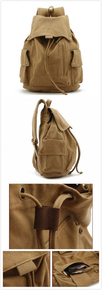 Image of VINTAGE CANVAS HIKING TRAVEL MILITARY BACKPACK MESSENGER TOTE BAG L122
