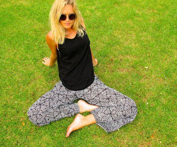 Wide Leg Ladies Pants  Black & White Print  Trendy by ljcdesignss, $32.00
