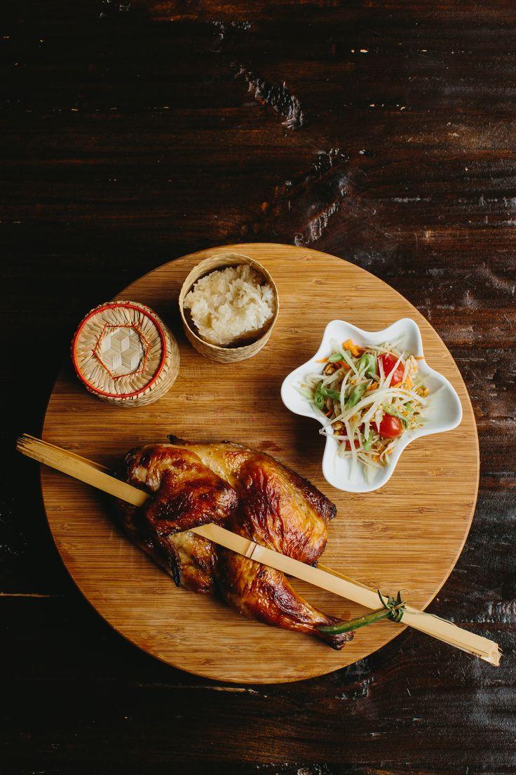 Kai Yang Thai Street Food Restaurant Plates Sticky Rice Thai
