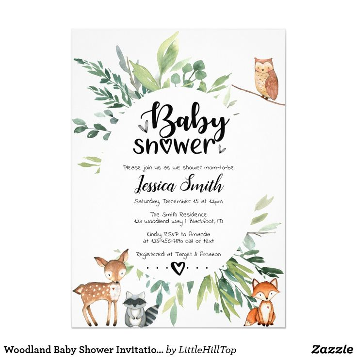 Woodland Baby Shower Invitation Animals Greenery | Zazzle.com