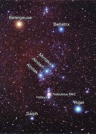 The constellation, Orion, annotated.