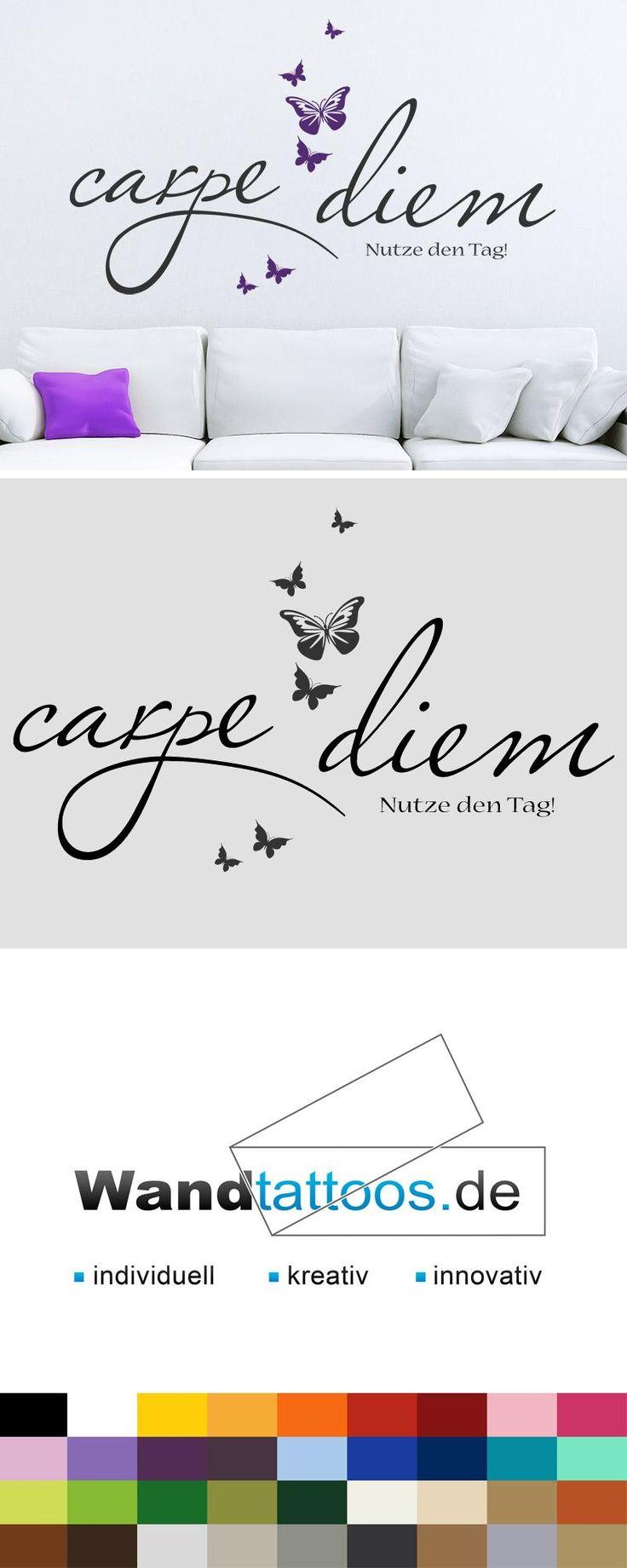 Wandtattoo Carpe diem mit Schmetterlingen als Idee zur individuellen Wandgestaltung. Einfach Lieblingsfarbe und Größe auswählen. Weitere kreative Anregungen von Wandtattoos.de hier entdecken!