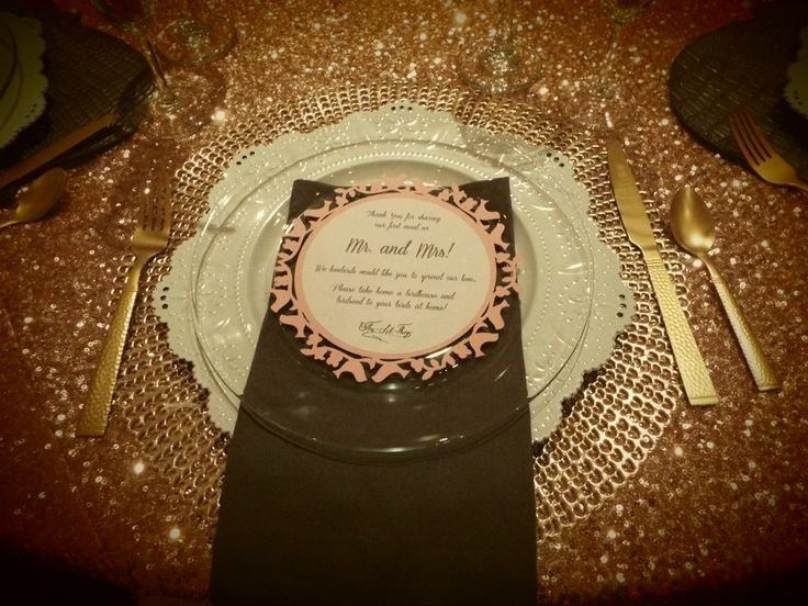 Blush sequin Reception table setting by The~Lil~Things. So glam!