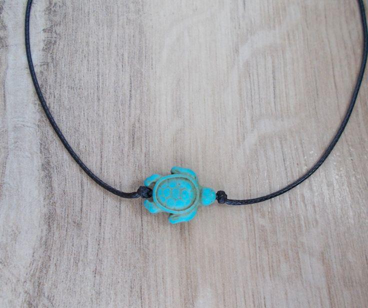 Turquoise Turtle Choker, Black Cord, Minimalis Design, Delicate Chocker, Dainty Necklace, Everyday Chocker, Everyday Jewelry by BluePinkJewelry on Etsy