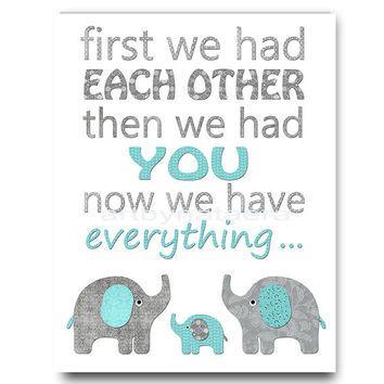 Blue and gray Kids Room Decor Elephant Nursery Art Baby Boy Room Decor Baby…