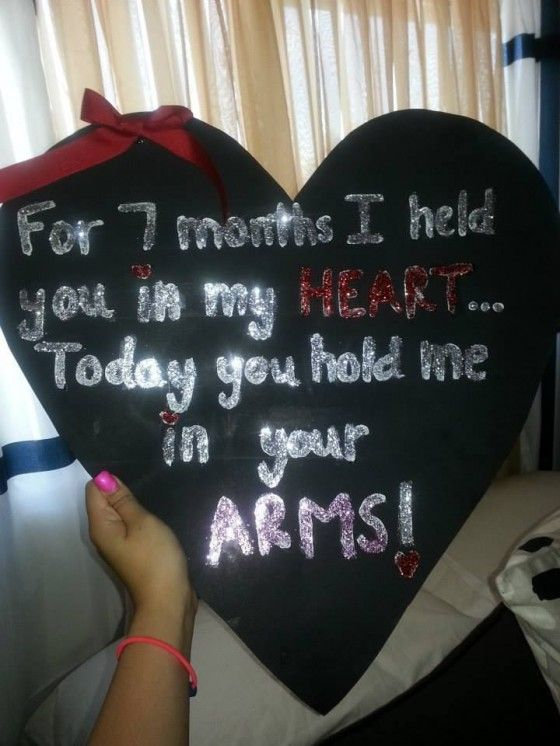 7 month heart homecoming sign