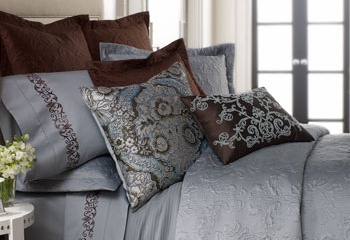 Love Blue and Brown together....this gray blue and chocolate is a luxurious combo.: Baby Blue, Colors Combos, Sferra Frazier, Home Ideas, Blue Brown, Decor Pillows, Beds Linens, Beds Sets, Beautiful Beds