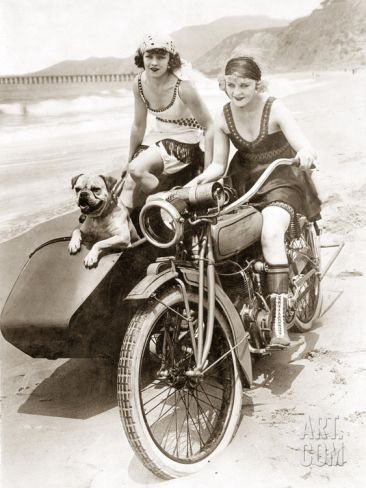 Women Drive a Motorcycle with a Sidecar, 1930 Photographic Print by Scherl at Art.com