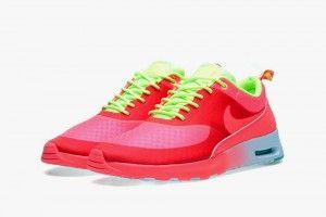 Koop Nike Air Max Thea Woven QS Schoenen Dames Neon Rood Fluorescerend Groen Wit Uitverkoop