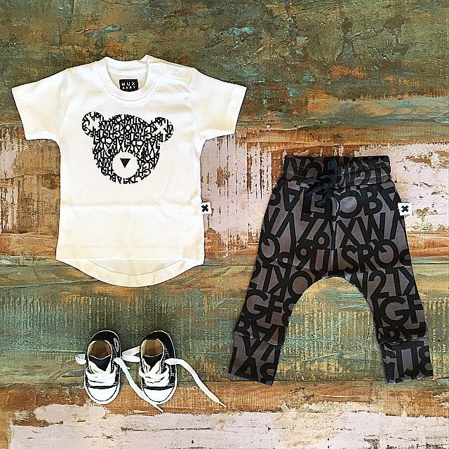 BABY • #Huxbaby #organic hux bear tee, alphabet drop crotch pants (very low stock!) & #Converse infant #ChuckTaylor pre walkers. All available at #TinyStyle in #Noosa & online •  www.tinystyle.com.au