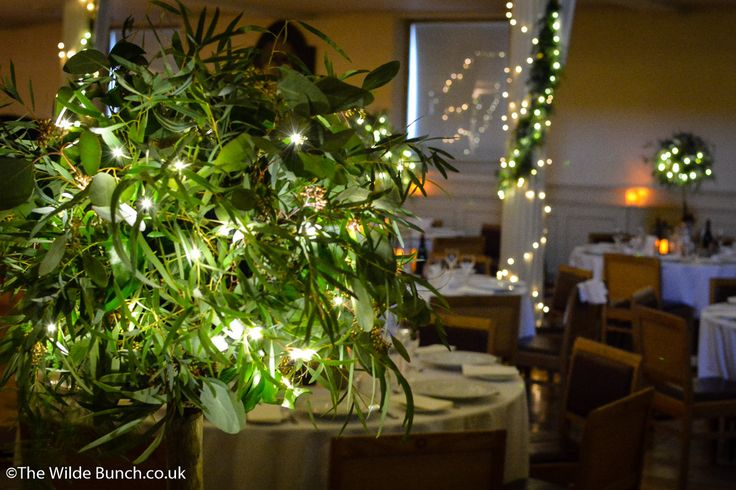 Rustic Chic with a Wilde Bunch twist. Showing the effect across the room as the lights go down. Illuminated Rustic tree designs as wedding table centrepieces at St Georges Hall, Bristol.