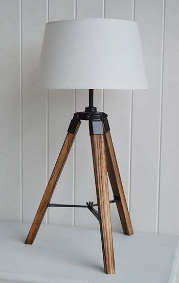 Tripod table lamp with white shade