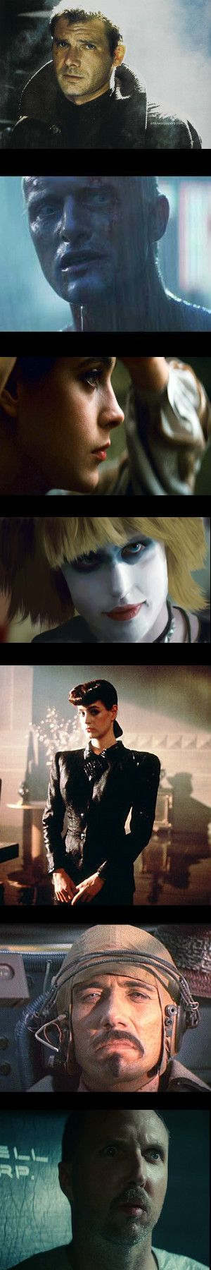 From top to bottom: Harrison Ford as Deckard, the blade runner; Rutger Hauer as Roy Batty; Sean Young as beautiful Rachael; Daryll Hannah as Pris; Sean Young again; James Esward Olmos as Gaff; and Brian James as Leon. Blade Runner 1982 Joanna Cassidy, Zora, is missing here.