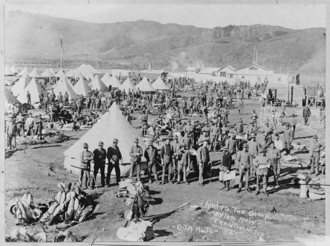 Men outside their tents at Trentham Camp, a scene familiar to all in January 1915