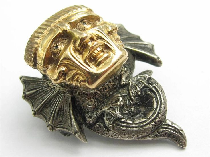 """RARE Antique Norway 830 Silver and 14K Gold H Moller Trondheim Three Headed Dragon Brooch - measures just over 1"""" long - marked """"H. Moller 830 Trondhjem"""" and """"585"""" on gold section - sold for $805 including shipping on eBay on June 8, 2014."""