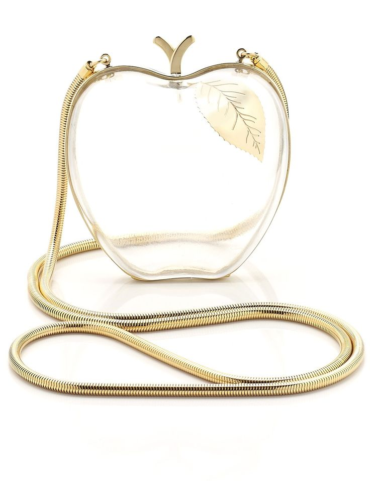 distinctive clutches are Italian-crafted from luxe materials for the ultimate high end statement. The sister duo have earned their fashion stripes with their iconic apple-shaped Adam evening bag, and this clear lucite version with its intricate gold detailing is exquisitely finished for unadulterated glamour. Wear as an elegant adornment to jacquard summer dresses.