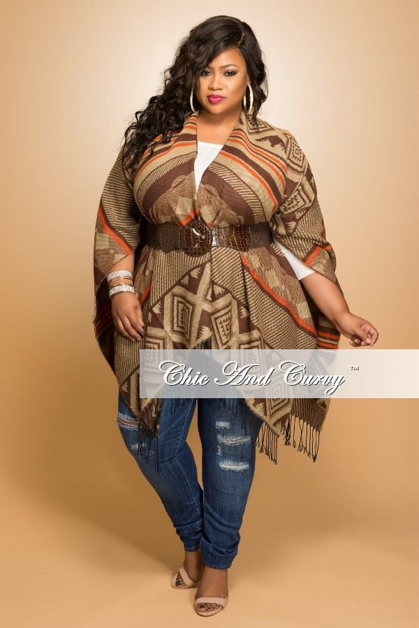 New Plus Size Poncho Shawl in Orange or Turquoise Diamond Pattern – Chic And Curvy
