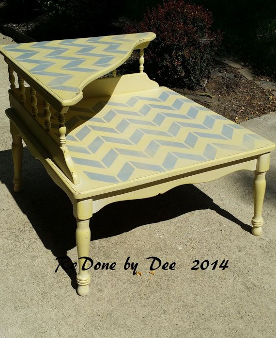 Painted Retro Two Tier Coffee Table End Table Side by ReDonebyDee, $139.00