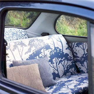 I would love to have some fun crazy fabric in my car! Of course it would get ruined by juice boxes, markers and all kinds of kid stuff that has destroyed my couch and car already! But some day!!