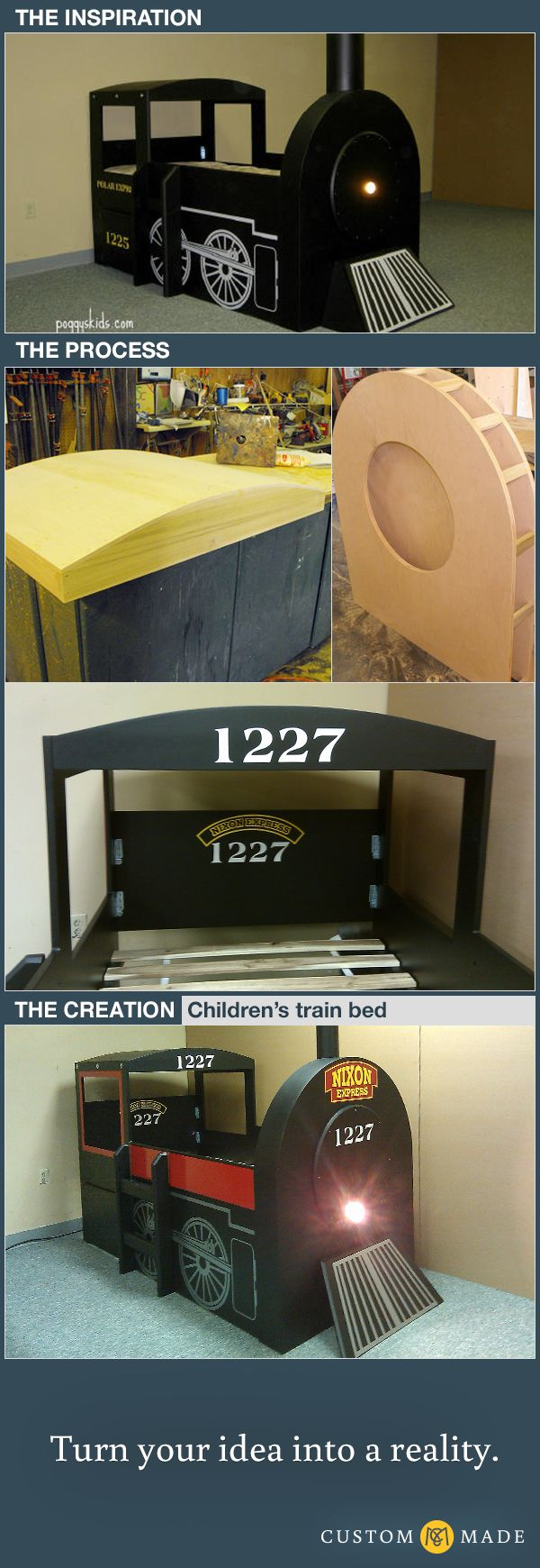 Children's train bed modeled after the Hogwarts Express | CustomMade