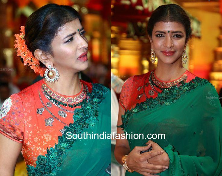 lakshmi manchu hasini anuj wedding green saree photo