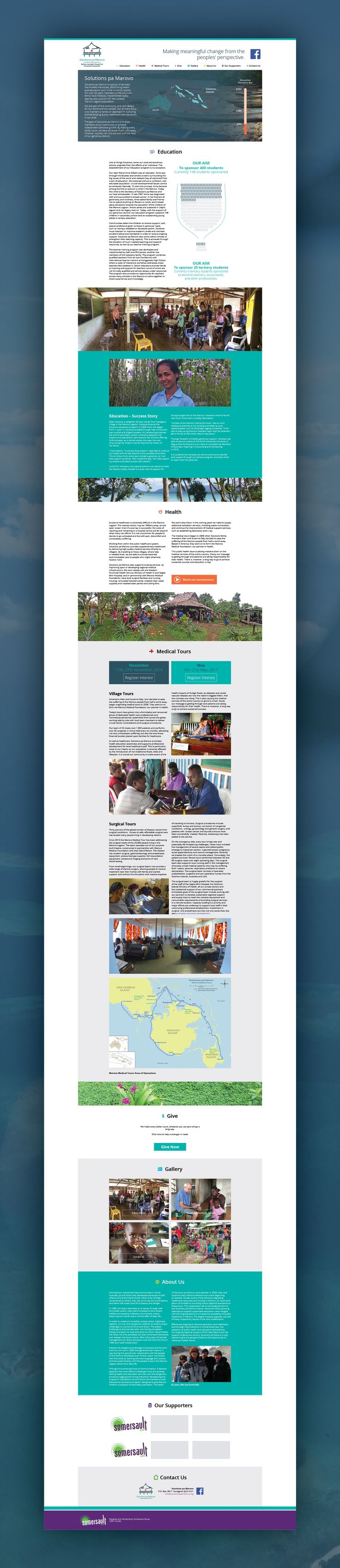 Website design and build for the non-for-profit organisation, Solutions pa Marovo in the Solomon Islands.