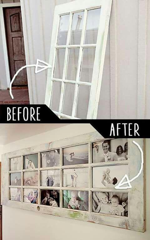 Photo wall with vintage window panes/door